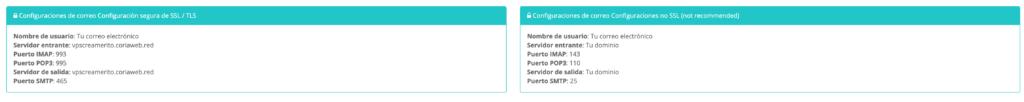 configuración de correos